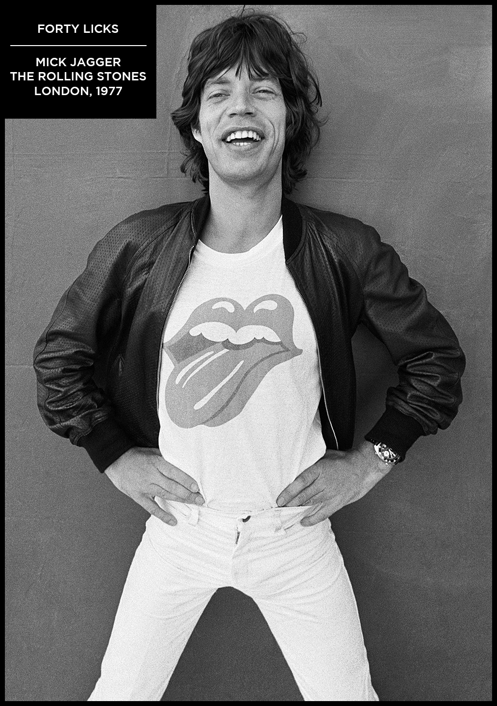 rare black and white photograph mick jagger forty licks the rolling stones